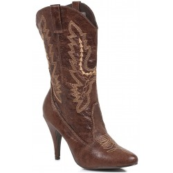 Brown Scrolled Cowgirl Boots Burlesque Diva Celebrate Burlesque - Costumes, Shoes, and Accessories for Performers