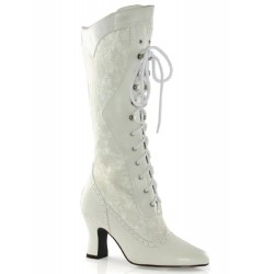 Rebecca Victorian White Lace Boot Burlesque Diva Celebrate Burlesque - Costumes, Shoes, and Accessories for Performers