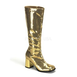 Spectacular Gold Sequin Covered Gogo Boots Burlesque Diva Celebrate Burlesque - Costumes, Shoes, and Accessories for Performers