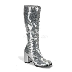 Spectacular Silver Sequin Covered Gogo Boots Burlesque Diva Celebrate Burlesque - Costumes, Shoes, and Accessories for Performers
