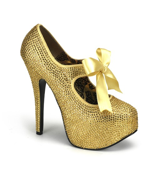 Gold Rhinestone Teeze Platform Pump at Burlesque Diva, Celebrate Burlesque - Costumes, Shoes, and Accessories for Performers