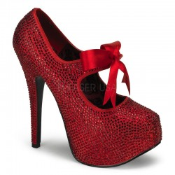Ruby Red Rhinestone Teeze Platform Pump Burlesque Diva Celebrate Burlesque - Costumes, Shoes, and Accessories for Performers