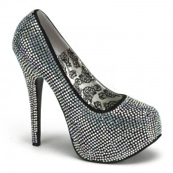 Teeze Black Wide Width Rhinestone Platform Pump Burlesque Diva Celebrate Burlesque - Costumes, Shoes, and Accessories for Performers