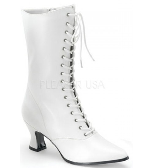 White Victorian Steampunk Ankle Boots at Burlesque Diva, Celebrate Burlesque - Costumes, Shoes, and Accessories for Performers
