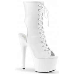 White Faux Leather Adore Platform Ankle Boots Burlesque Diva Celebrate Burlesque - Costumes, Shoes, and Accessories for Performers