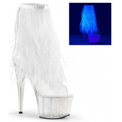 Neon White Marabou Trimmed Platform Ankle Boot Burlesque Diva Celebrate Burlesque - Costumes, Shoes, and Accessories for Performers