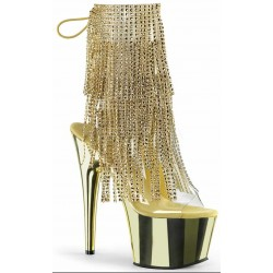 Gold Rhinestone Fringe Platform Ankle Boot Burlesque Diva Celebrate Burlesque - Costumes, Shoes, and Accessories for Performers