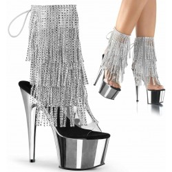Silver Rhinestone Fringe Platform Ankle Boot Burlesque Diva Celebrate Burlesque - Costumes, Shoes, and Accessories for Performers