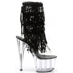 Black Sequin Fringe 7 Inch Heel Ankle Boot at Burlesque Diva, Celebrate Burlesque - Costumes, Shoes, and Accessories for Performers