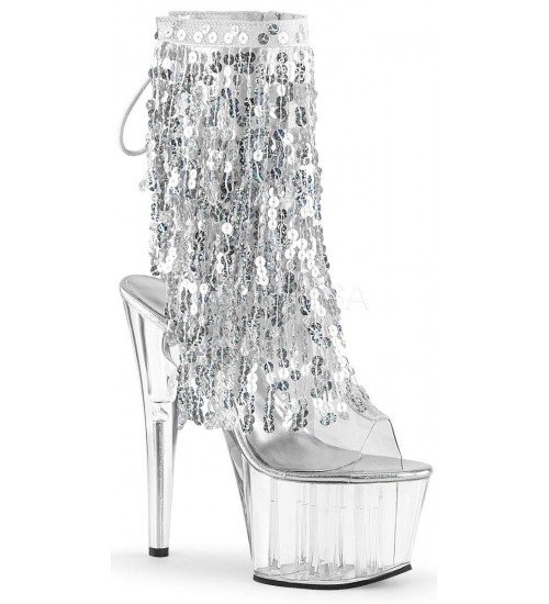 Silver Sequin Fringe 7 Inch Heel Ankle Boot at Burlesque Diva, Celebrate Burlesque - Costumes, Shoes, and Accessories for Performers