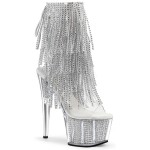 Rhinestone Fringed Silver 7 Inch Heel Ankle Boot at Burlesque Diva, Celebrate Burlesque - Costumes, Shoes, and Accessories for Performers