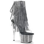 Rhinestone Fringed Black and Silver 7 Inch Heel Ankle Boot at Burlesque Diva, Celebrate Burlesque - Costumes, Shoes, and Accessories for Performers