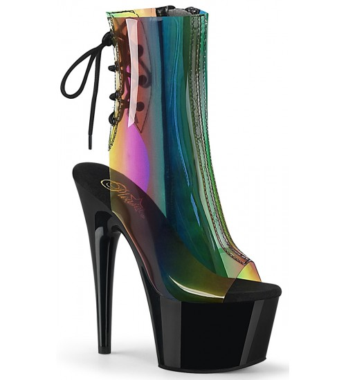 Rainbow Black Platform Ankle Boot at Burlesque Diva, Celebrate Burlesque - Costumes, Shoes, and Accessories for Performers