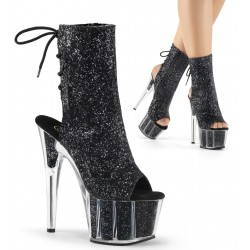 Black Glittered Platform Ankle Boot Burlesque Diva Celebrate Burlesque - Costumes, Shoes, and Accessories for Performers