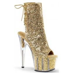 Gold Glittered Platform Ankle Boot Burlesque Diva Celebrate Burlesque - Costumes, Shoes, and Accessories for Performers
