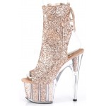 Rose Gold Glittered Platform Ankle Boot at Burlesque Diva, Celebrate Burlesque - Costumes, Shoes, and Accessories for Performers