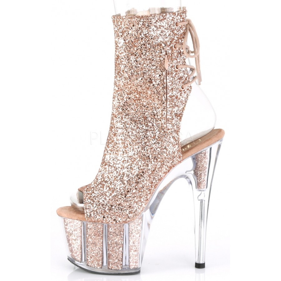 05cce4e9765f Rose Gold Glittered Platform Ankle Boot 7 Inch Heel Adore 1018G