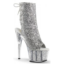 Silver Glittered Platform Ankle Boot Burlesque Diva Celebrate Burlesque - Costumes, Shoes, and Accessories for Performers