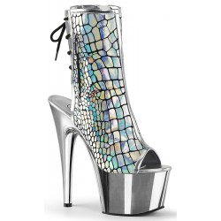 Hologram Chrome Platform Ankle Boot Burlesque Diva Celebrate Burlesque - Costumes, Shoes, and Accessories for Performers