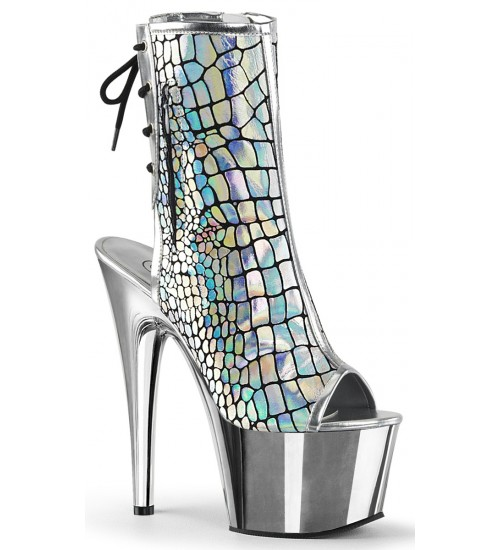 Hologram Chrome Platform Ankle Boot at Burlesque Diva, Celebrate Burlesque - Costumes, Shoes, and Accessories for Performers