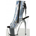 Mermaid Silver Hologram Ankle Boot at Burlesque Diva, Celebrate Burlesque - Costumes, Shoes, and Accessories for Performers