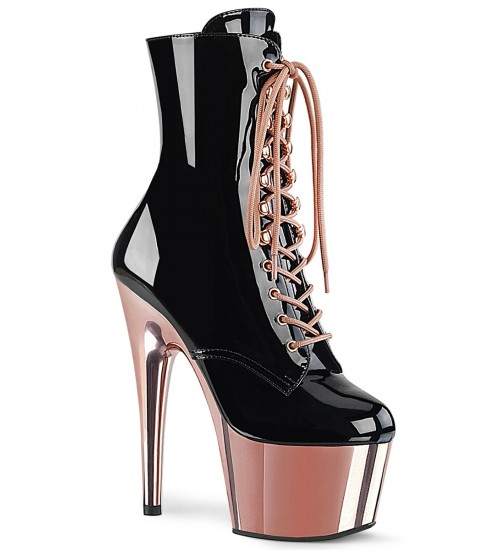 Rose Gold Platform Adore Black Granny Ankle Boot at Burlesque Diva, Celebrate Burlesque - Costumes, Shoes, and Accessories for Performers