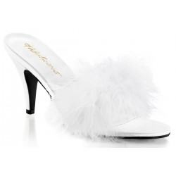 Amour White Maribou Trimmed Slipper Burlesque Diva Celebrate Burlesque - Costumes, Shoes, and Accessories for Performers