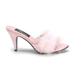 Amour Baby Pink Maribou Trimmed Slipper Burlesque Diva Celebrate Burlesque - Costumes, Shoes, and Accessories for Performers