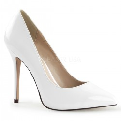 Amuse White 5 Inch High Heel Pump Burlesque Diva Celebrate Burlesque - Costumes, Shoes, and Accessories for Performers