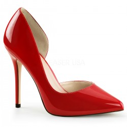Amuse Red 5 Inch High Open Side Pump Burlesque Diva Celebrate Burlesque - Costumes, Shoes, and Accessories for Performers