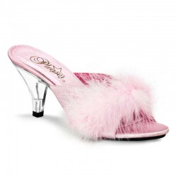 Belle Baby Pink Maribou Satin Slipper Burlesque Diva Celebrate Burlesque - Costumes, Shoes, and Accessories for Performers