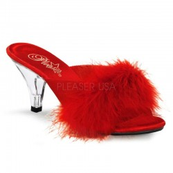 Belle Red Maribou Satin Slipper Burlesque Diva Celebrate Burlesque - Costumes, Shoes, and Accessories for Performers