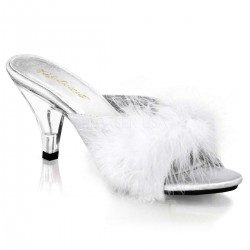 Belle White Maribou Satin Slipper Burlesque Diva Celebrate Burlesque - Costumes, Shoes, and Accessories for Performers