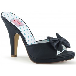 Siren Black Mule with Bow Burlesque Diva Celebrate Burlesque - Costumes, Shoes, and Accessories for Performers