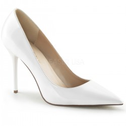 White Classique Pointed Toe Pump Burlesque Diva Celebrate Burlesque - Costumes, Shoes, and Accessories for Performers