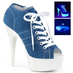 Denim Blue High Heel Peep Toe Sneaker at Burlesque Diva, Celebrate Burlesque - Costumes, Shoes, and Accessories for Performers