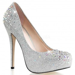 Destiny Silver Rhinestone Embellished Pumps Burlesque Diva Celebrate Burlesque - Costumes, Shoes, and Accessories for Performers