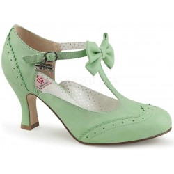 Flapper Mint Green Kitten Heel T-Strap Bow Pump Burlesque Diva Celebrate Burlesque - Costumes, Shoes, and Accessories for Performers