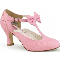 Flapper Pink Kitten Heel T-Strap Pump Burlesque Diva Celebrate Burlesque - Costumes, Shoes, and Accessories for Performers