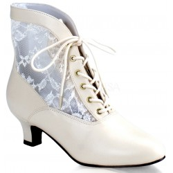 Victorian Dame Ivory Ankle Boot Burlesque Diva Celebrate Burlesque - Costumes, Shoes, and Accessories for Performers