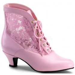 Victorian Dame Baby Pink Ankle Boot Burlesque Diva Celebrate Burlesque - Costumes, Shoes, and Accessories for Performers