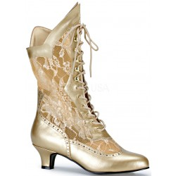 Victorian Dame Gold Lace Boot Burlesque Diva Celebrate Burlesque - Costumes, Shoes, and Accessories for Performers