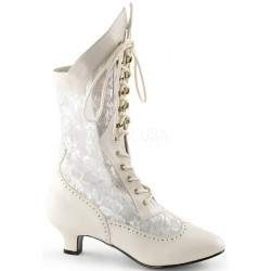 Victorian Dame Ivory Lace Boot Burlesque Diva Celebrate Burlesque - Costumes, Shoes, and Accessories for Performers