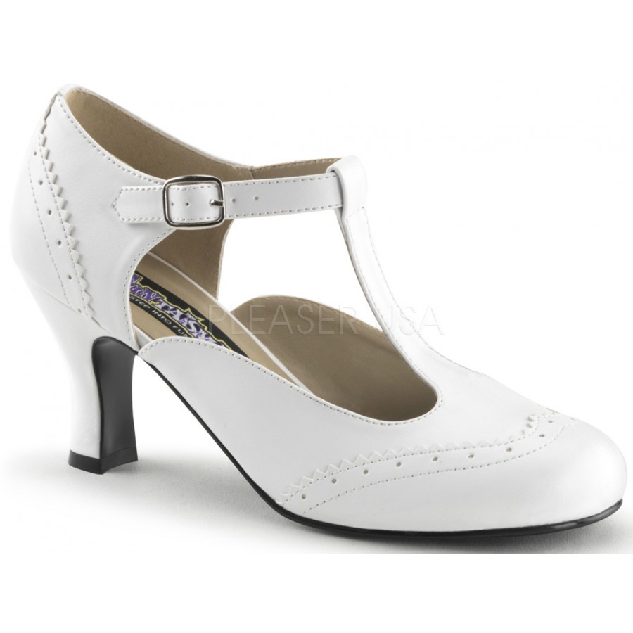 Flapper White T Strap Pump
