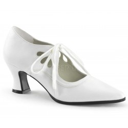Victorian White Cut Out Womens Pump Burlesque Diva Celebrate Burlesque - Costumes, Shoes, and Accessories for Performers