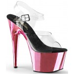 Pink Chrome Platform Clear Strap Platform Sandal at Burlesque Diva, Celebrate Burlesque - Costumes, Shoes, and Accessories for Performers