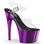 Purple Chrome Platform Clear Strap Platform Sandal at Burlesque Diva, Celebrate Burlesque - Costumes, Shoes, and Accessories for Performers