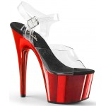 Red Chrome Platform Clear Strap Platform Sandal at Burlesque Diva, Celebrate Burlesque - Costumes, Shoes, and Accessories for Performers