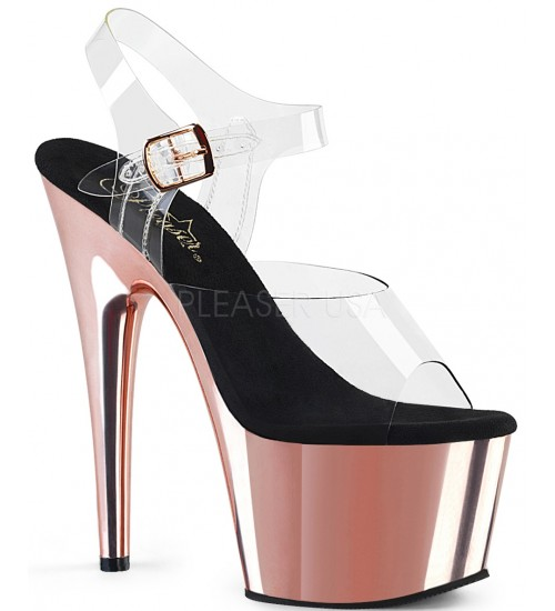Rose Gold Chrome Platform Clear Strap Platform Sandal at Burlesque Diva, Celebrate Burlesque - Costumes, Shoes, and Accessories for Performers