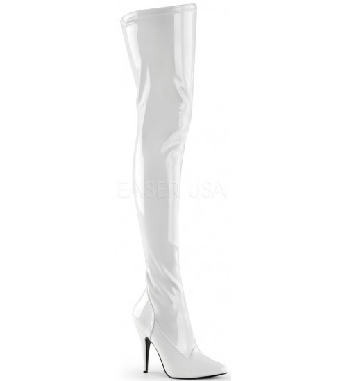Seduce White High Heel Thigh High Boots at Burlesque Diva, Celebrate Burlesque - Costumes, Shoes, and Accessories for Performers